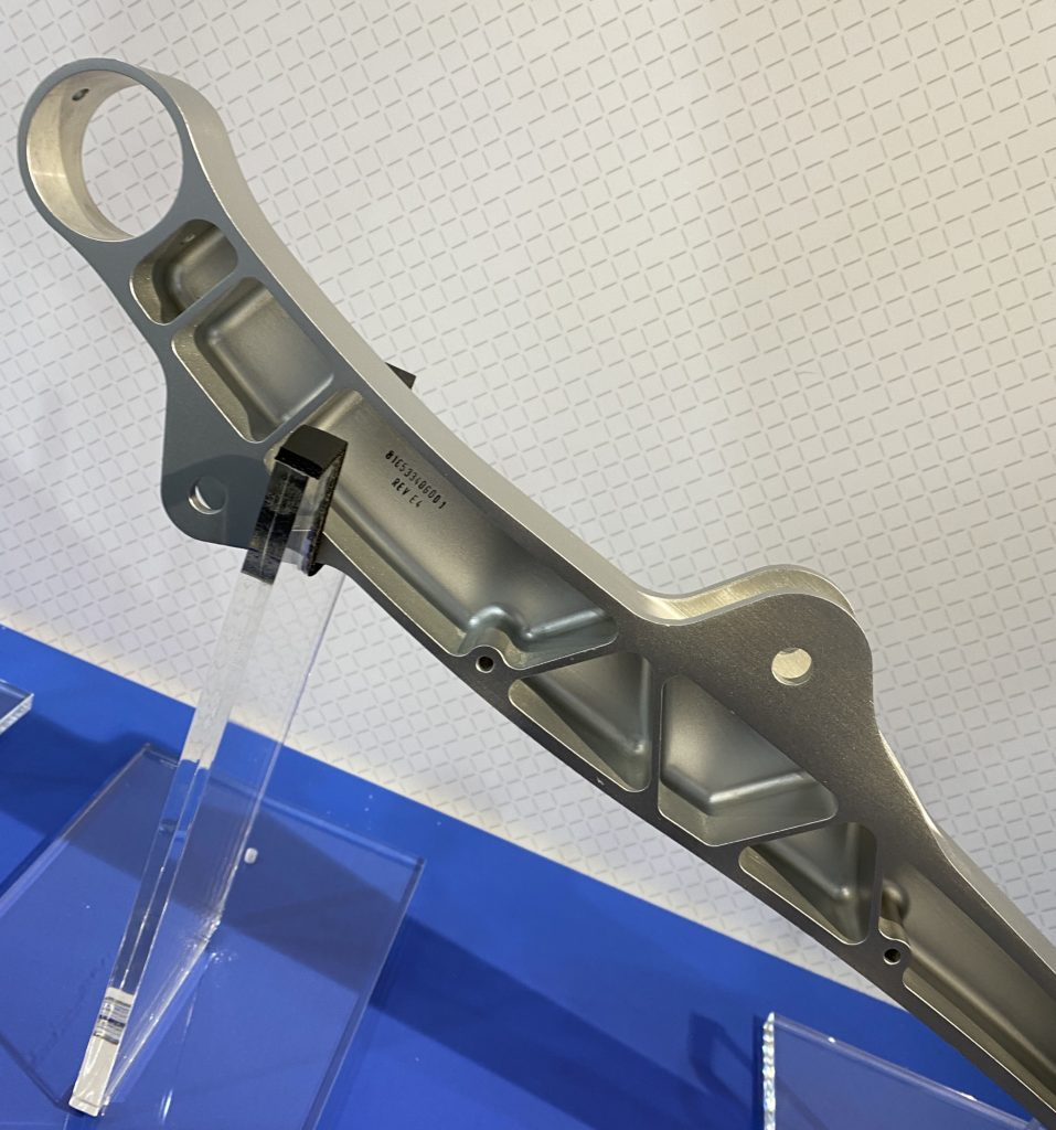 Close-up of a magnesium alloy seat spreader