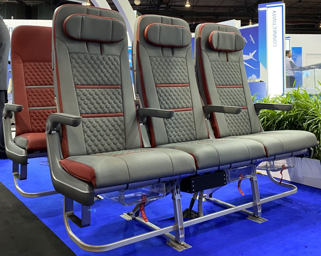 Aircraft seats in grey and maroon at the ST stand
