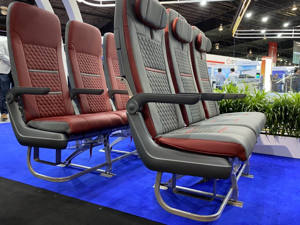 Grey and maroon seats, with magnesium alloy, at the ST stand