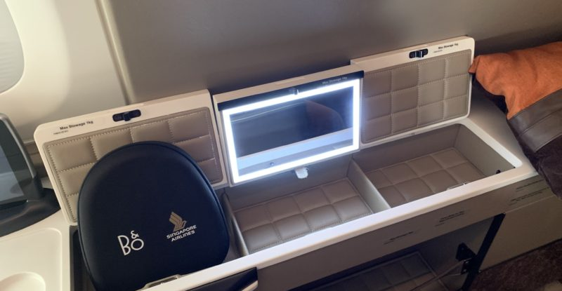 Multiple storage areas in Singapore Airlines' first class suite