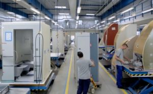 Aircraft lavatories being assembled at the Diehl Aviation factory