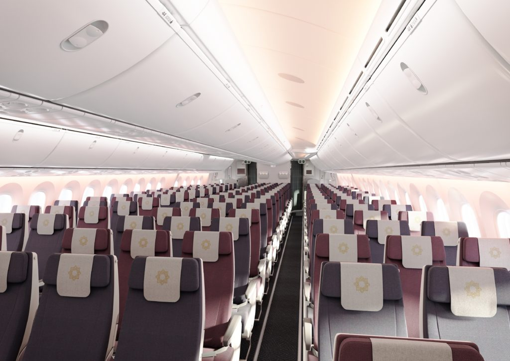 Vistara's economy class with reand grey fabric seats in a 3-3-3 layout