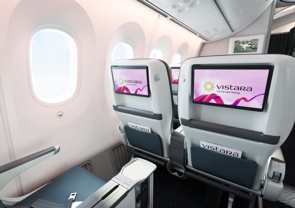 Vistara Premium Economy seatback showing the HD Touchscreen in welcom position.