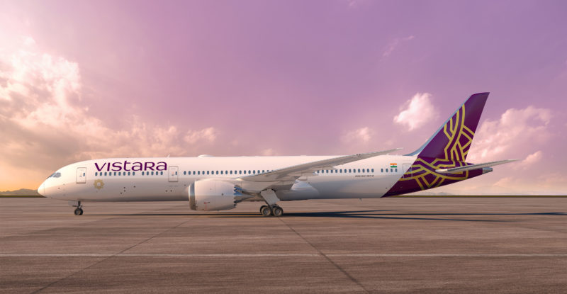 Vistara Boeing 787-9 Dreamliner on the runway with purple/blue sky in the background