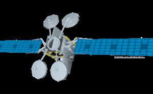 Rendering of Viasat 3 satellite on white background