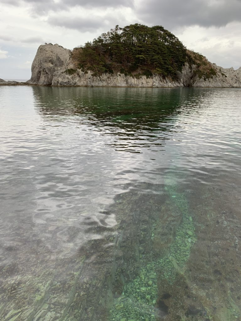 Large rocks with trees with a calm ocean in front