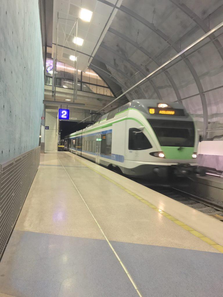 A train arriving at a platform