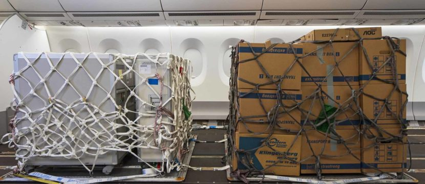 Freight wrapped in a net on board a passenger aircraft