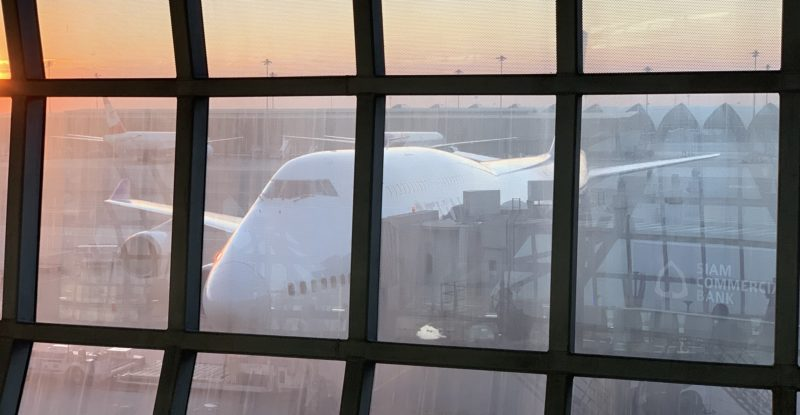 A 747 at the gate, as seen from the lounge windows