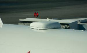 Antenna radome (hump) atop an aircraft fuselage