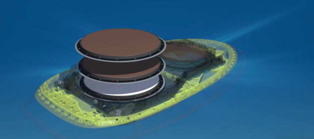 Multiple disks comprise the 2Ku antenna. This image shows the different layers of the hardware, with the red disks floating in air above the radome package