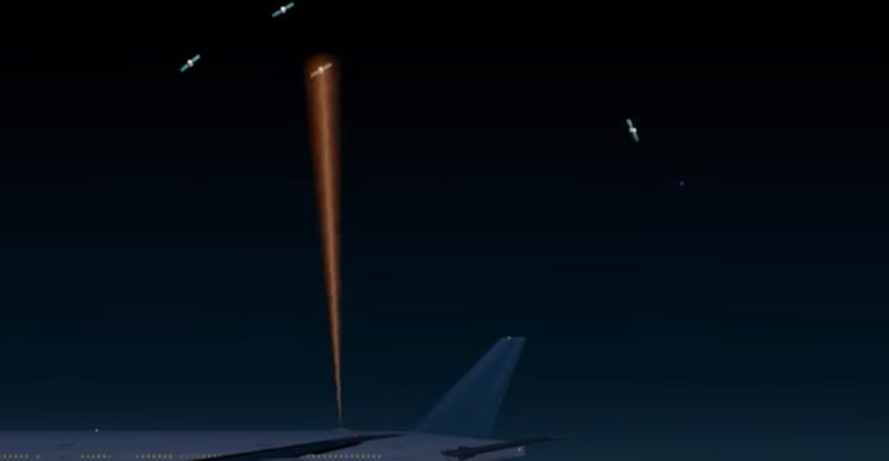 A graphic of an aircraft with an antenna atop the fuselage, talking to a satellite in orbit