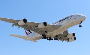 An Air France A380 soaring overhead