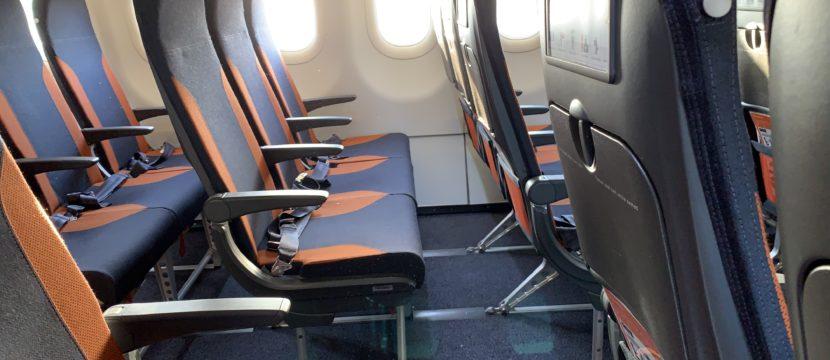 slimeline seats on board an easyJet aircraft