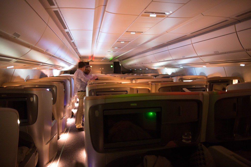 Rows of business class seats with seatback screens on the SIA A350ULR