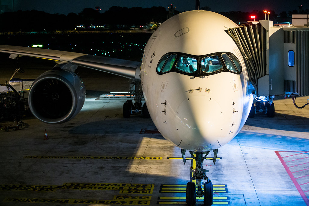The Singapore Airlines A350ULR at the gate