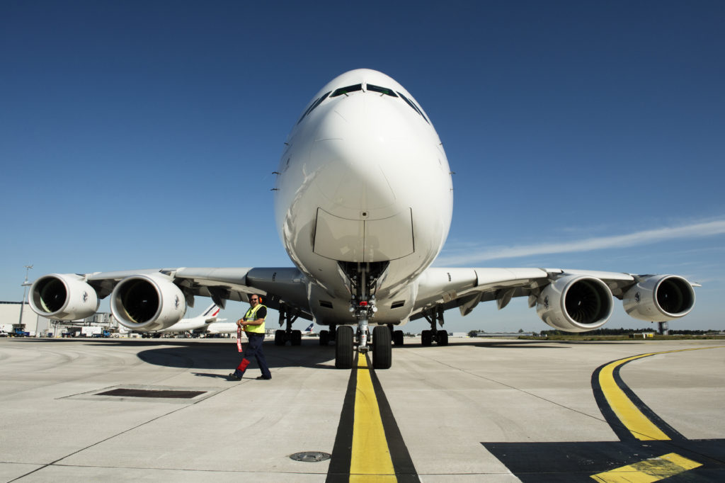 A front view of an Air France Airbus A380 parked at Paris CDG