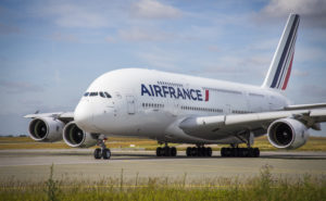 An Air France A380 getting ready for takeoff