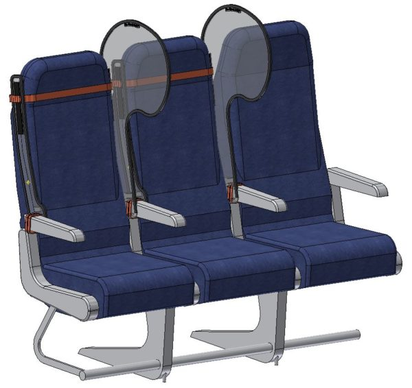 A graphic of a seat triple with the PPW on either side of the middle seat. Material straps are used to keep the solution in place.