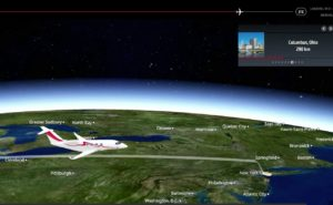 Moving map showing an aircraft flying across a map of the US