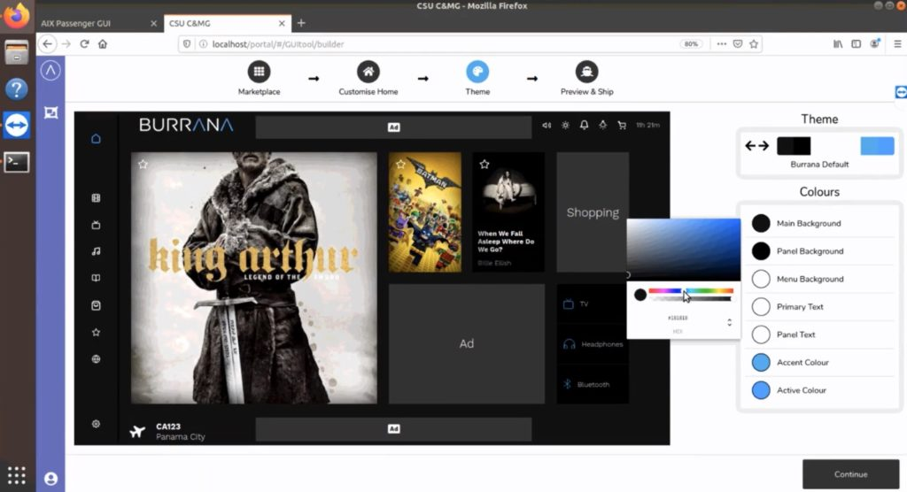 A clean and simple GUI with King Arthur as the chosen title on the screen, and the ability to select different themes on the screen