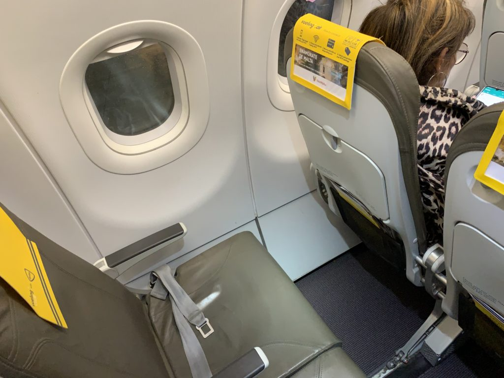 A close-up of the legroom found on Vueling; slimline seats cannot be reclined