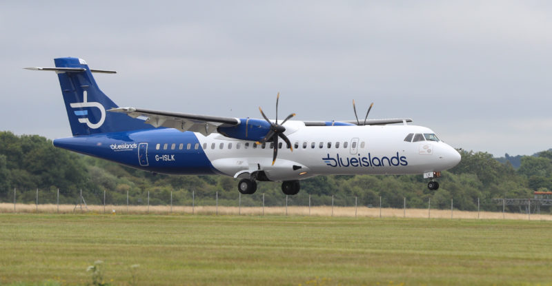 Blue Islands ATR 72, G-ISLK, debuts its new livery of white and blue at Southampton. Image: Blue Islands/Stuart Martin Photography