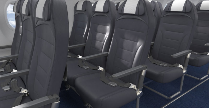 Rows of grey seats on a 737. The seats are Expliseat's TiSeat E2