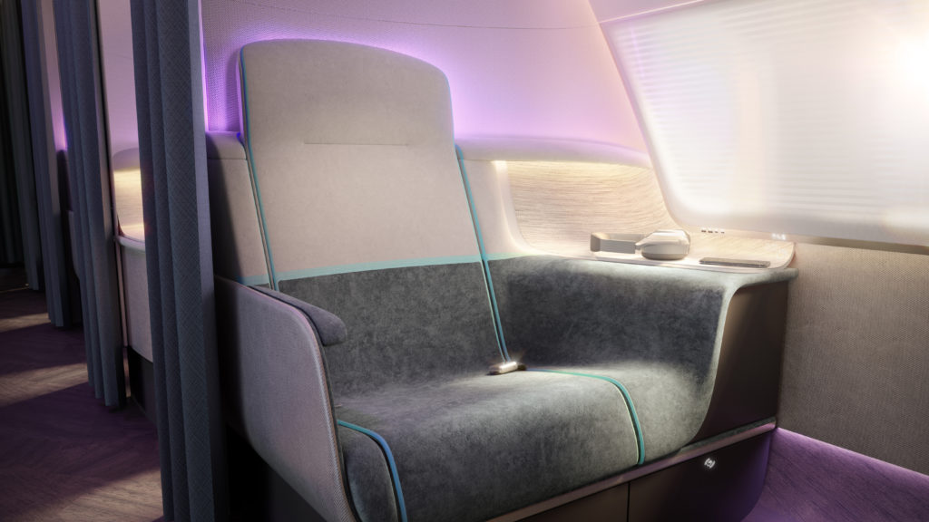 The Pure Skies premium seat is seamless and smooth, ensuring that dirt doesn't accumulate in crevices. This image shows the seat with smooth lines and LED lighting