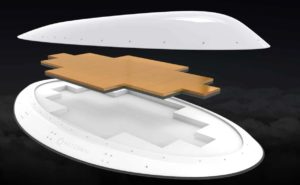 NXTCOMM's nextgen electronically steerable antenna shown in three modular parts - the radome, the flat panel antenna and the adapter plate (which would be installed atop an aircraft fuselage).