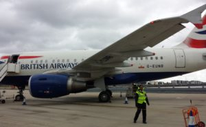 The A318 baby bus, in BA livery, on the ground