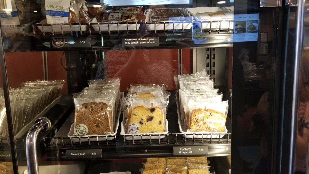Packaged cakes on display on board BC Ferries