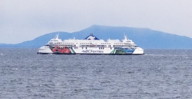 An image of the BC Ferries ship on the ocean, with a mountain in the background