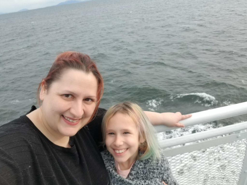 The author and her daughter on board BC Ferries' service to Victoria.
