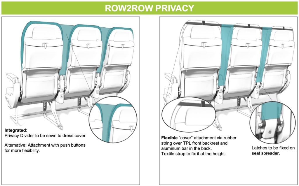 Am economy class privacy divider solution tabled by Recaro shows a screen between the seats to prevent droplet spread