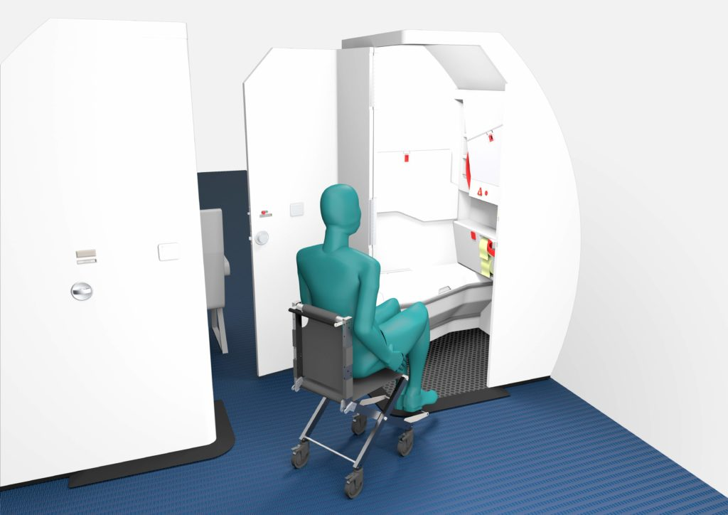 This graphic shows how the door of the LAV4ALL design opens wide and into the aisle, to ensure a wheelchair user can more easily navigate into the space