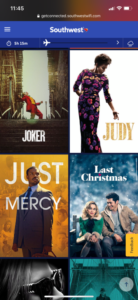 """A screengrab of some of the movies on board, including """"Last Christmas"""""""