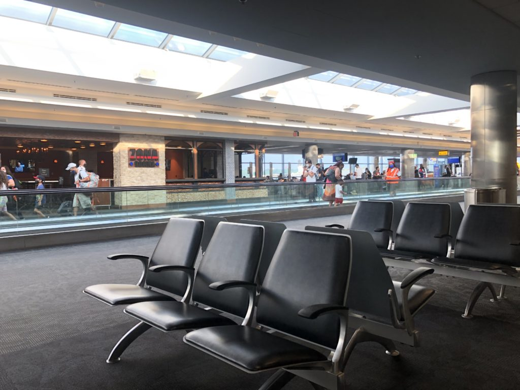 Empty seats at an unused gate at BWI