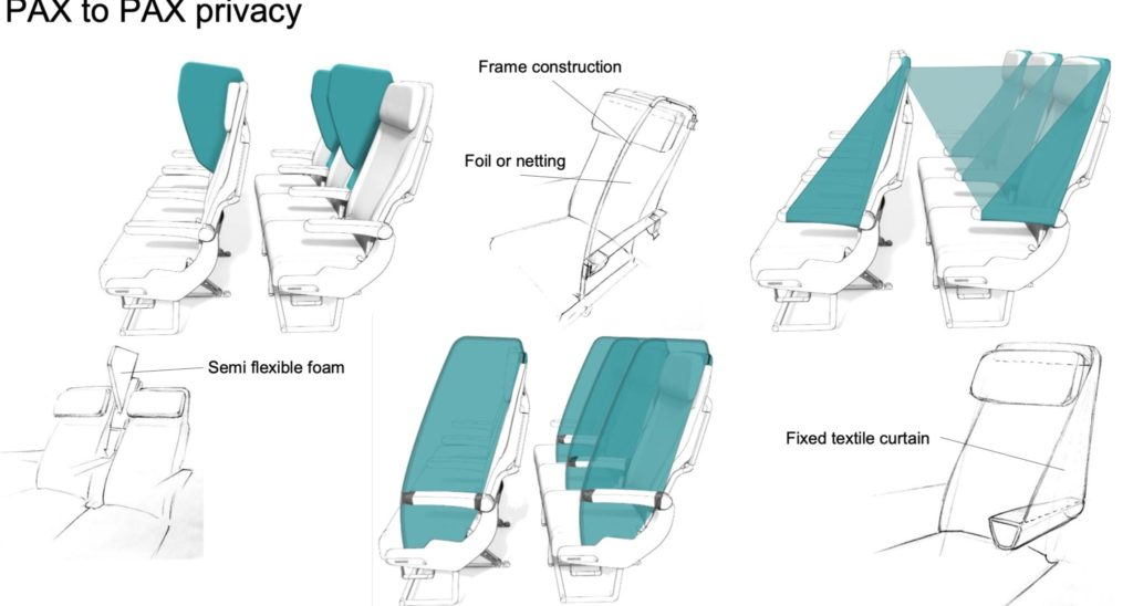A variety of different seat separation solutions, including head-only separators and fuller isolation screens for economy class seats