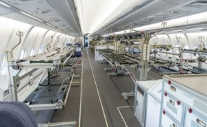 Hospital beds in rows inside the A330 MEDEVAC conversion