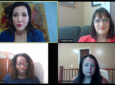 An image of the four female panelists in a Zoom call-like format