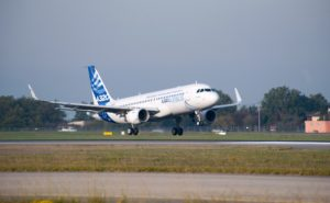 Sharklet-fitted Airbus A320 landing