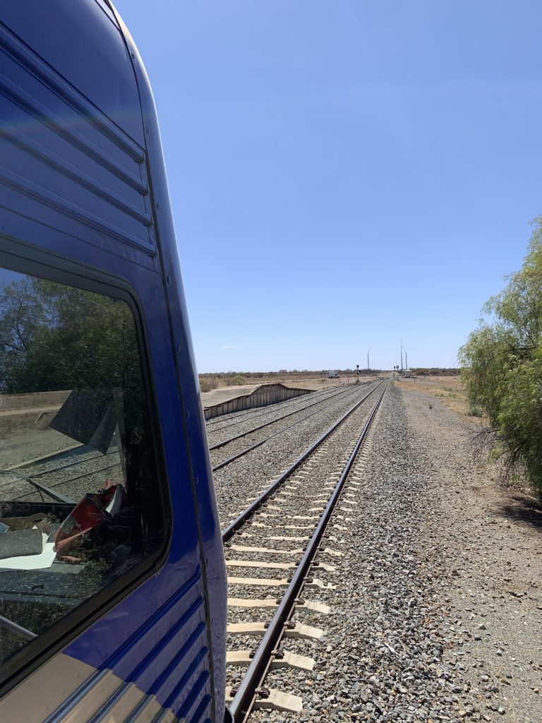 A view of the tracks in front of the Outback Xplorer en route
