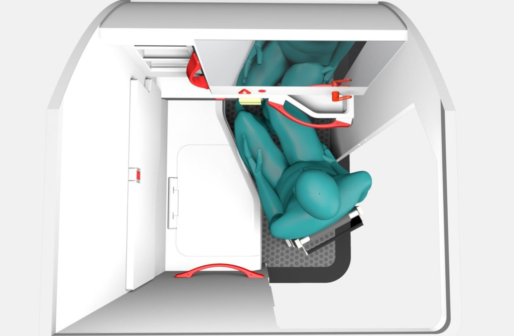 This graphic shows a top-down view of a wheelchair user inside the LAV4ALL lav design