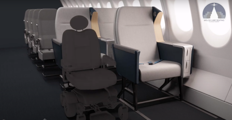 A cabin design from Molon Labe and JPA that would enable wheelchairs in the aircraft cabin