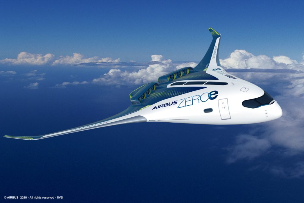 Another image of the blended wing body ZEROe in-flight, with a blue sky in the background with white fluffy clouds