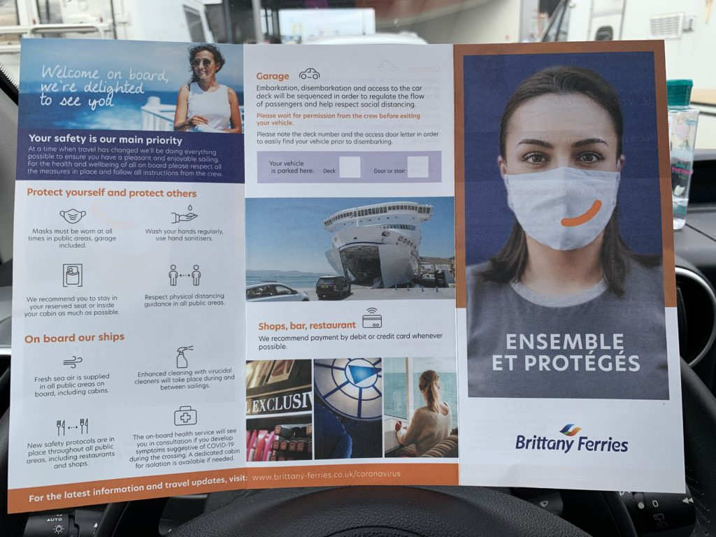 A leaflet about Brittany Ferries' COVID response, including a note that masks must be worn