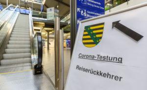 Corona Test at Leipzig Halle LEJ Airport Terminal in Germany.
