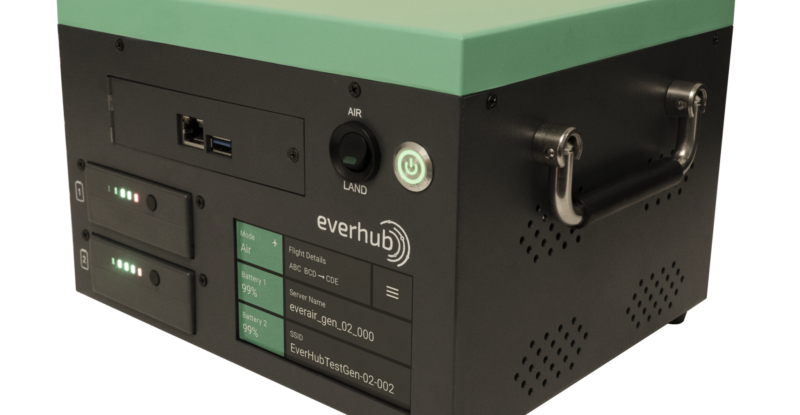 Inflight Dublin's Everbox hardware for Everhub. A black box with green top.