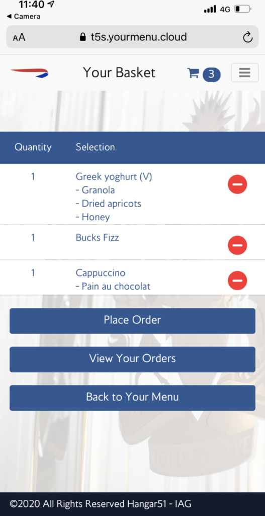 A screengrab of the online ordering system.
